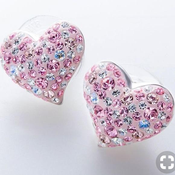 Pink Swarovski Crystals Heart Stud Earrings